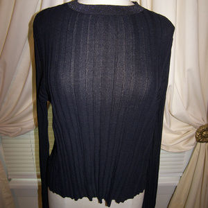 Zara The Knitwear Collection Rib Metallic Neck NWT